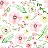 Watercolor Pink, Yellow and Green Flowers, Berries and Leaves Seamless Pattern