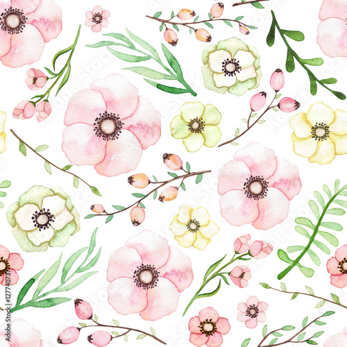 Cotton fabric Watercolor Pink, Yellow and Green Flowers, Berries and Leaves Seamless Pattern