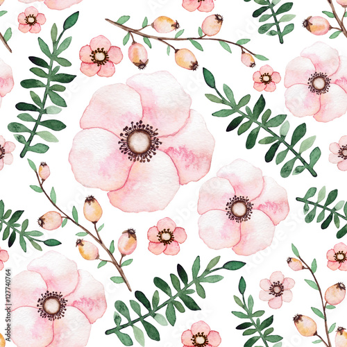 Watercolor Garden Flowers, Berries and Herbs Seamless Pattern - 127740764