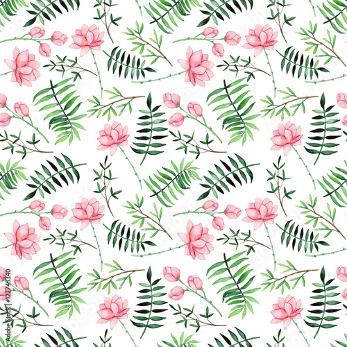 Watercolor Seamless Pattern with Hand Drawn Flowers and Ferns - 127745340