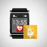 square smart watch health bag blood vector illustration eps 10