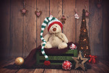 Dark wooden setup with Christmas decoration - 127750339