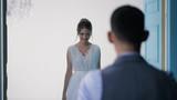Beautiful bride goes to beloved in wedding dress.
