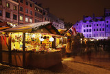 Fototapety Holiday decorations of Warsaw. Old market square. Poland
