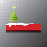 Christmas vector red button with christmas tree
