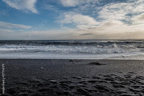 Poster Reynisfjara or the black sand beach near the village called Vik i Myrdal, Icelan