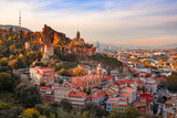 Beautiful sunset view of Old Tbilisi from the hill
