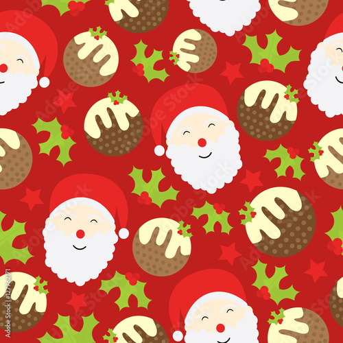 Cotton fabric Seamless background of Christmas illustration with cute Santa Claus and Xmas cake on red background suitable for Xmas kid wallpaper, scrap paper and postcard