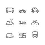 Line icons. Road transport. Flat symbols