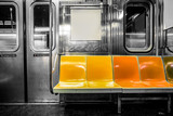 Fototapeta Nowy Jork - New York City subway car interior with colorful seats © littleny