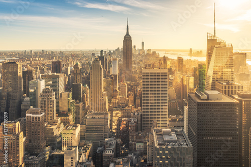 Foto op Aluminium New York Sunset over New York skyline