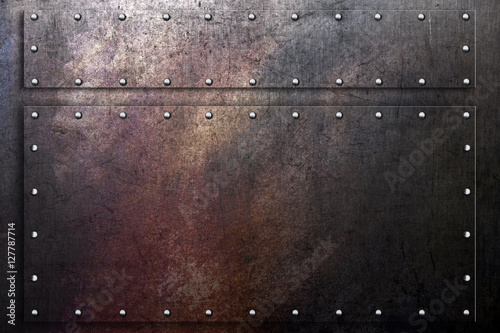 canvas print picture Metal background, worn scratched steel texture