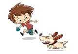 Niño jugando con un perro. Corren y juegan