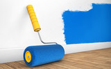 Painting of walls in a room with paint roller. 3d rendering