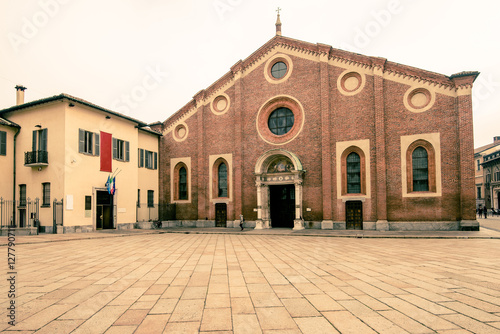 Poster view of Santa Maria delle Grazie Milan city  - here there is he last supper of l