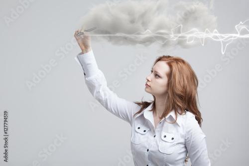 Poster Woman making magic effect - flash lightning