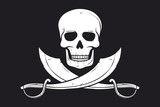 Pirate vector flag (skull and crossed sabers)