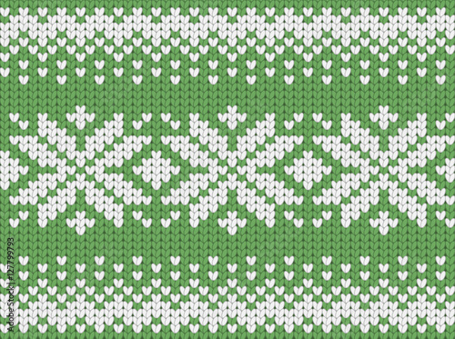 Cotton fabric Knitted green seamless  scandinavian Christmas pattern with snowflakes