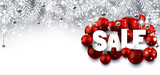 Silver sale banner with balls.