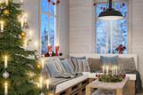 Skandinavisches, nordisches Wohnzimmer mit einem Christbaum, Sofa und weihnachtlicher Deko bei Nacht. - 127806757