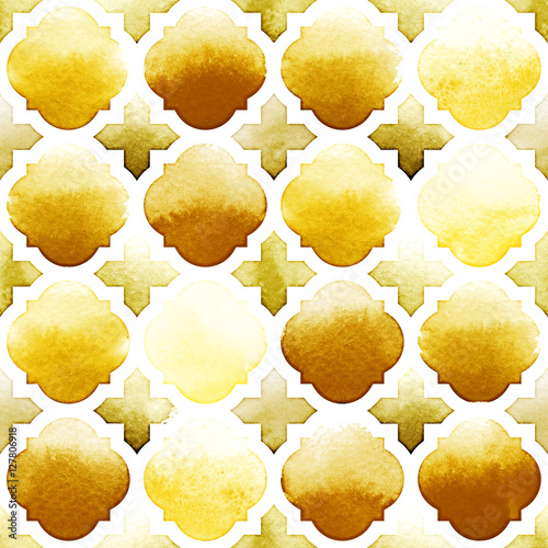 Morrocan ornament of yellow colors on white background. Watercolor seamless pattern. Spicy Mustard - 127806918
