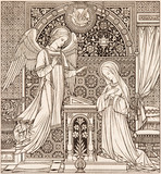 BRATISLAVA, SLOVAKIA, NOVEMBER - 21, 2016: The lithography of Annunciation in Missale Romanum designed by unknown artist (1892) and printed in Germany by Typis Friderici Pustet. - 127807713