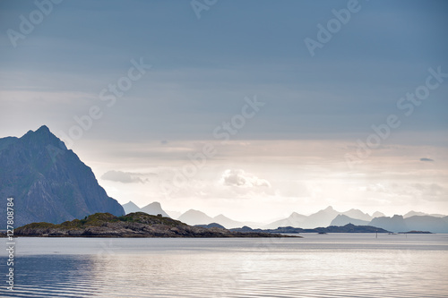Poster Norway fjord and islands. Cloudy Nordic day.