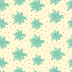 Seamless pattern background with palms and dots