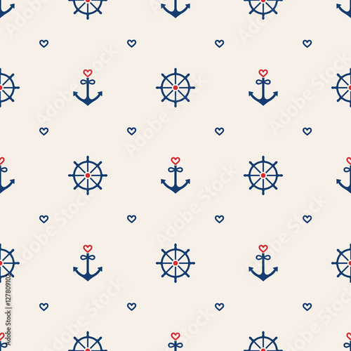 Cotton fabric Nautical seamless pattern background with anchors, wheels and he