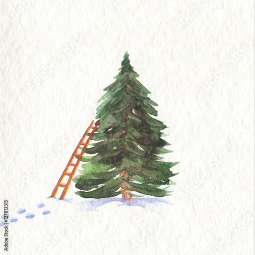 Christmas tree. New Year watercolor illustration