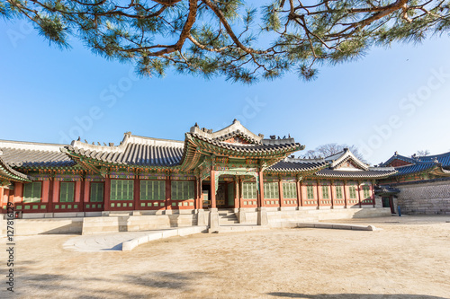 Changdeokgung Palace and Huwon landmark of Seoul, South Korea Poster
