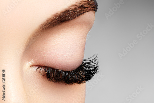 Beautiful macro shot of female eye with extreme long eyelashes and black liner makeup. Perfect shape make-up and long lashes. Cosmetics and make-up. Closeup macro shot of fashion eyes visage