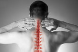 Spine pain, man with backache and ache in the neck, black and white photo with red backbone