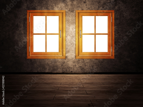 Wooden Window in Room - 127818942
