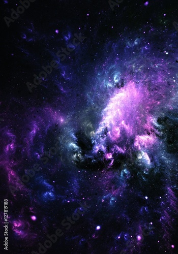 Astro Ghost - Digital abstract painting of a colorful Nebula Galaxy