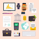 Collection of business workflow items and elements, finance and