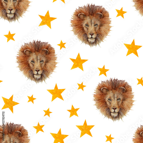 Materiał do szycia Watercolor seamless pattern with lion face and stars isolated on white. Circus theme background