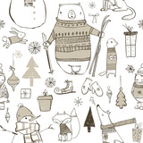 seamless pattern with cute winter elements