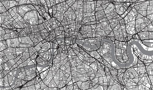Urban city map of London, England