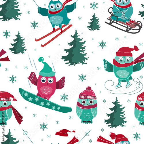 Cotton fabric Vector seamless pattern with active sport owls
