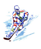 Hockey player with stick and puck, isolated  hand painted watercolor illustration