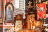 Vilnius, Lithuania. Close The Left Side Of Iconostasis In Christian Orthodox Church Of Saint Nicholas.