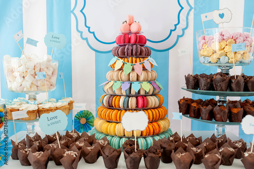 Poster macarons pyramid party decoration cookies cakes