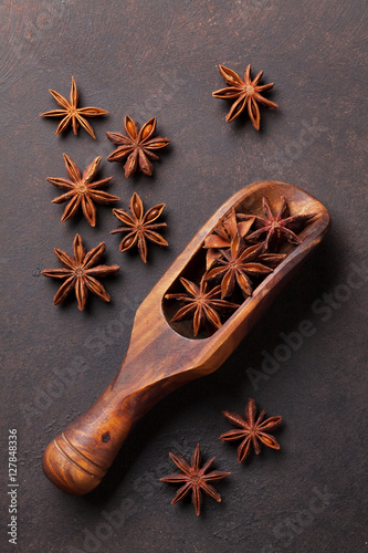Poster Mulled wine ingredients spices. Star anise