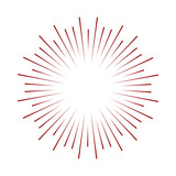 Rays radiating from a center. Linear drawing of rays of the sun. Design elements for your projects. Sunburst frame illustration. - 127855519