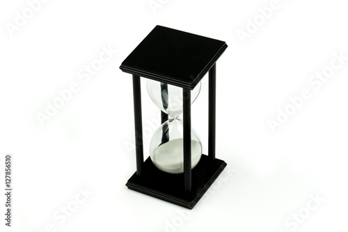 Wooden hourglass isolated on white background Poster