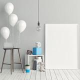 Fototapety Corner of children room, Empty poster, 3d illustration