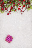 Christmas greeting card. Christmas border with copy space. Noel