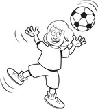 Black and white illustration of a girl playing soccer.