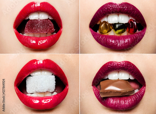 Set of beautiful female lips with a colorful lipstick and sweets Poster